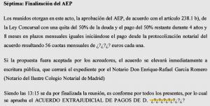 texto acuerdo extrajudicial de pagos